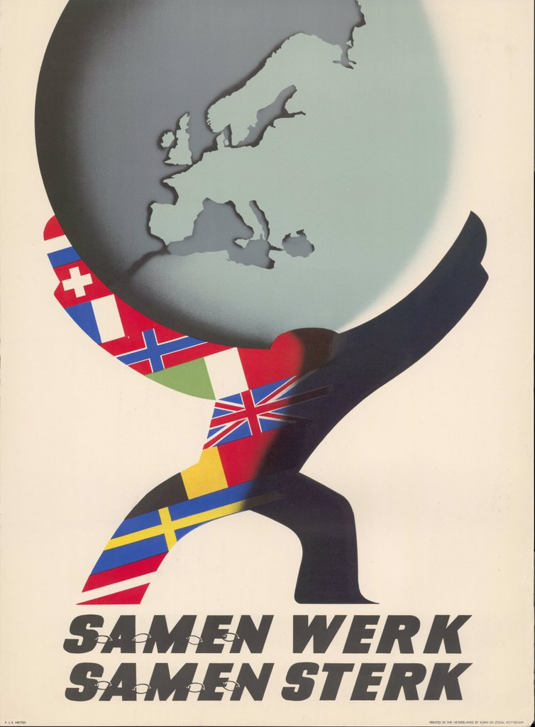For me as a proud global citizen great to hear @FedericaMog speak about the necessity of working together within Europe and between Europe and the United States of America. Old Dutch poster from 1950, Samen werk, Samen sterk, is still inspiring! #GMFinclusion #BrusselsForum