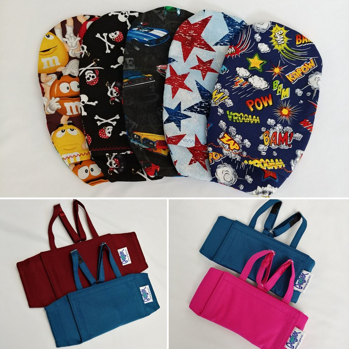 52b18cfc8 -Ostomy pouch covers in M&M's print, pirates, muscle cars, sponged stars  and superhero words on navy -Central line wraps in maroon and teal -Central  line ...