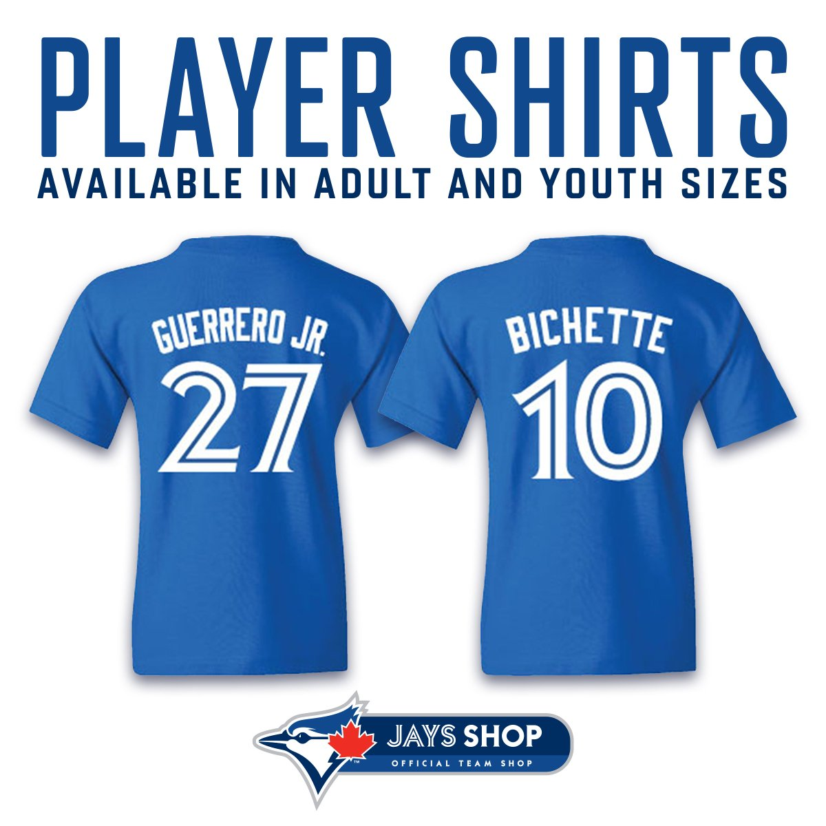 99715056fe2 Vladimir Guerrero Jr. and Bo Bichette Player Shirts are available in the Dunedin  Stadium Jays Shop and Jays Shop Online.