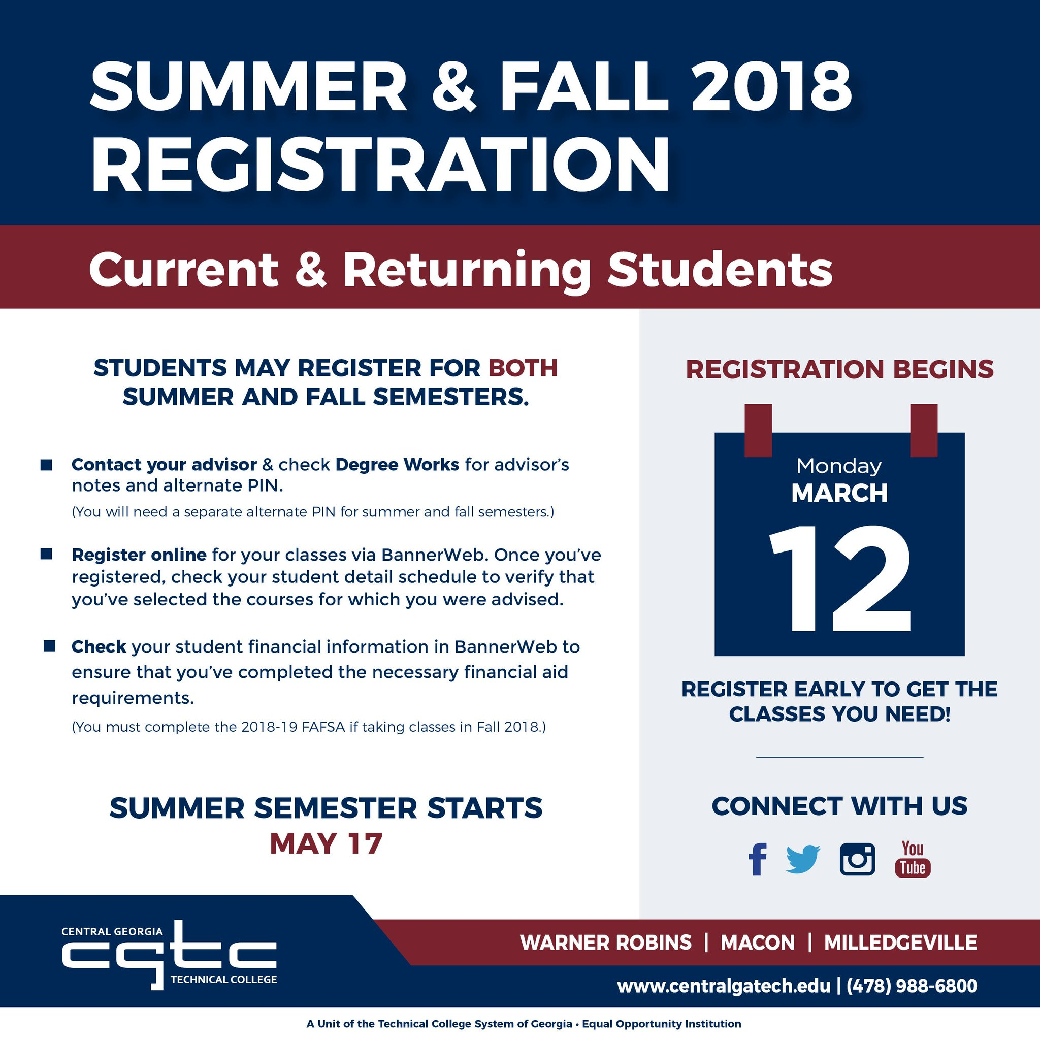 Central Georgia Tech On Twitter Get Ready To Sign Up For Classes