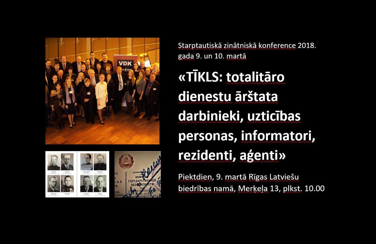 Aicinām! Konferencē «TĪKLS: totalitāro dienestu ārštata darbinieki, informatori, rezidenti, aģenti» Vācijas, Ukrainas, Lietuvas, Igaunijas u. c. valstu vēsturnieki ziņos par represīvo iestāžu dokumentu publiskošanu. Rīgas Latviešu biedrībā, 9. martā 10.00. lu.lv/vdkkomisija/zi…