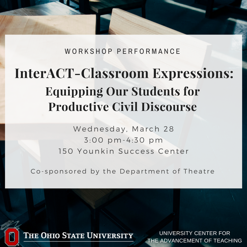 As teachers, what challenges do we face in empowering our students to engage difficult topics and complex issues with professionalism and care? Join us and @OSU_Theatre for a performance based workshop that addresses these issues. 3/28 3:00-4:30pm. https://t.co/sIL3afLRnl