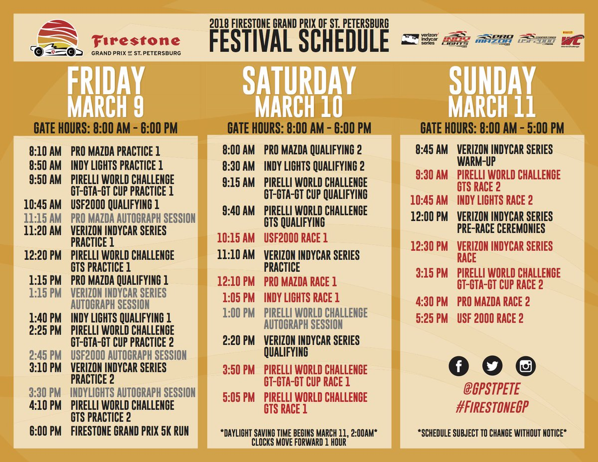 Firestone Hours Sunday >> Gpstpete On Twitter Check Out This Weekend S Full Schedule