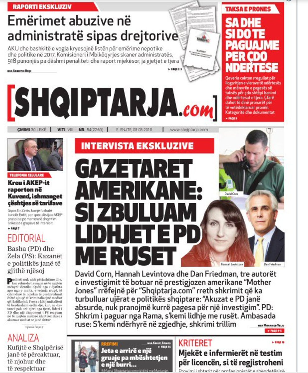 after motherjones published this piece the democratic party of albania and the russian embassy in tirana denounced us