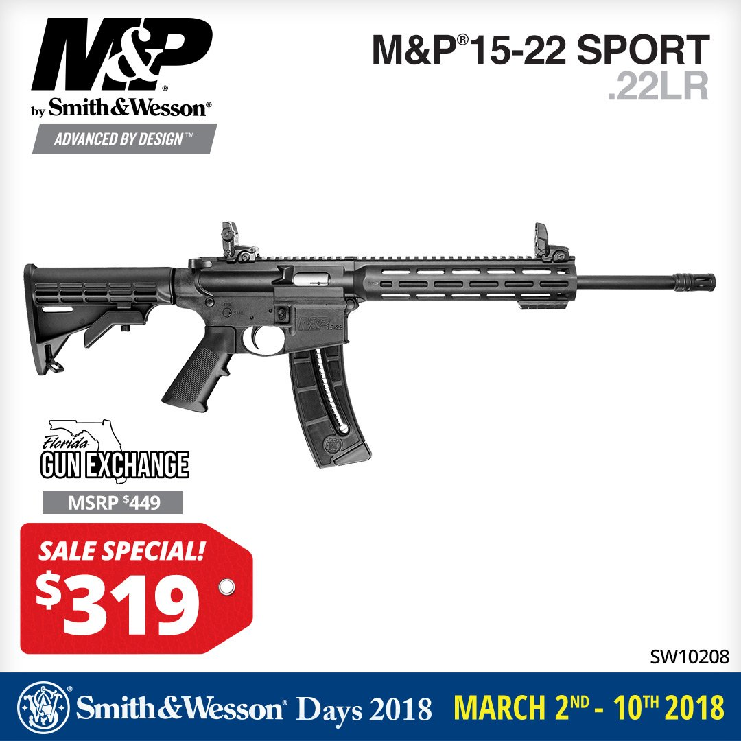 Florida Gun Exchange On Twitter Smith And Wesson M P 15 22 Sport For 319 During Smith And Wesson Days 2018 At The Florida Gun Exchange Save Now March 10th Smithandwesson Mandp 22lr Feel free to post range reviews, happenings with gun laws, meetups and hangouts. smith and wesson m p 15 22 sport for