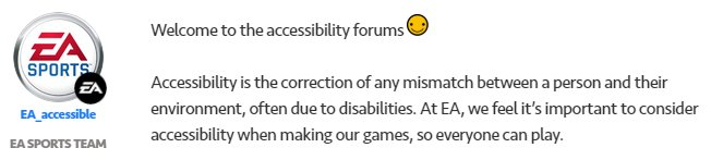 IMPORTANT, please share! If youre experiencing an accessibility issue with any #EA game you can now log the issues directly via this forum - answers.ea.com/t5/Accessibili… #gamersunite