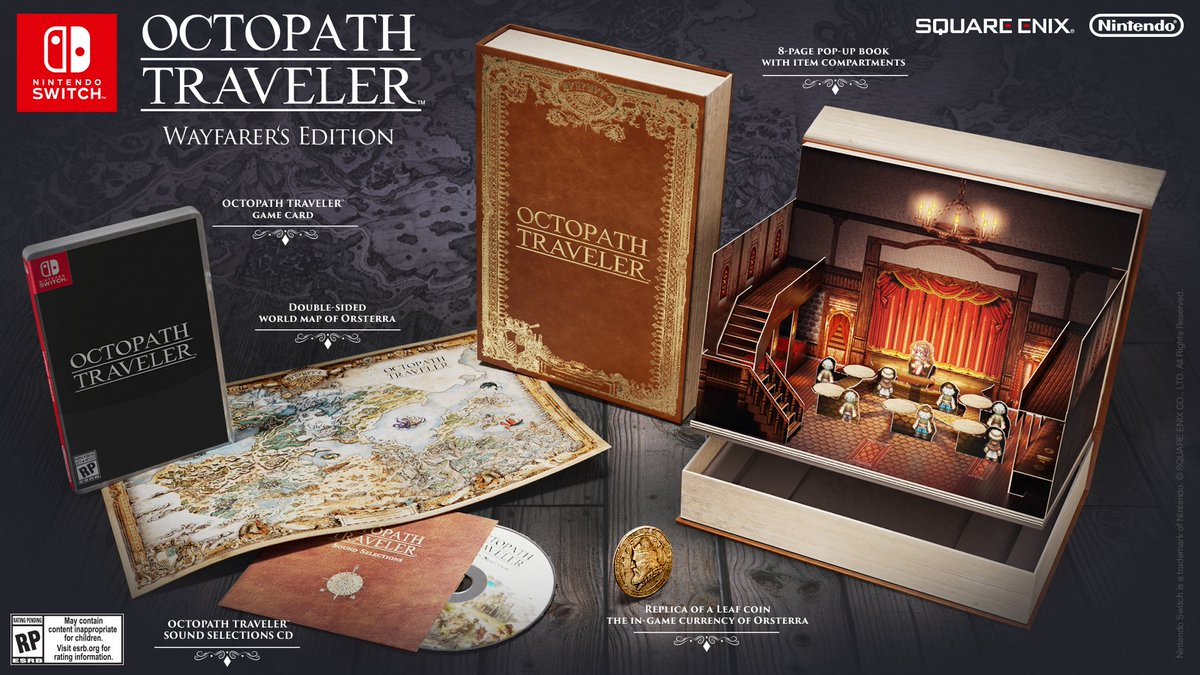 Nintendo of canada on twitter octopathtraveler wayfarers sound selections cd double sided world map replica coin of the in game currency and 8 page character pop up book picittergifl6nkbie gumiabroncs Gallery