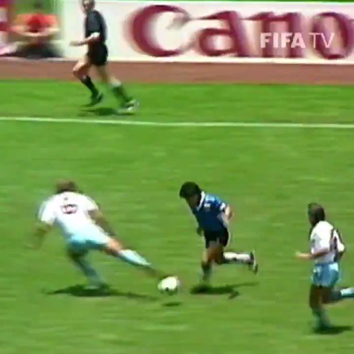 """The """"Hand of God"""" is more infamous, but Diego Maradona's *second* goal against England in the 1986 quarterfinals is arguably the greatest goal in World Cup history ⚽️💙  (via @FIFAWorldCup)"""
