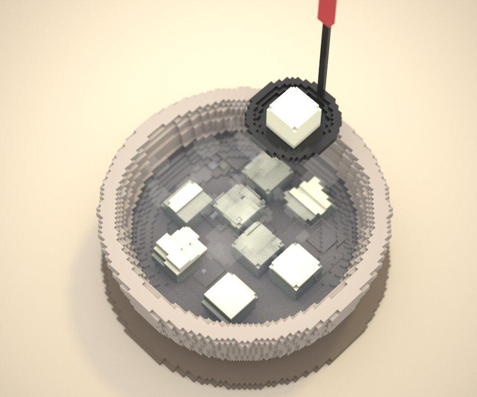 #voxel_1hour #magicavoxel  湯豆腐です お題:豆腐