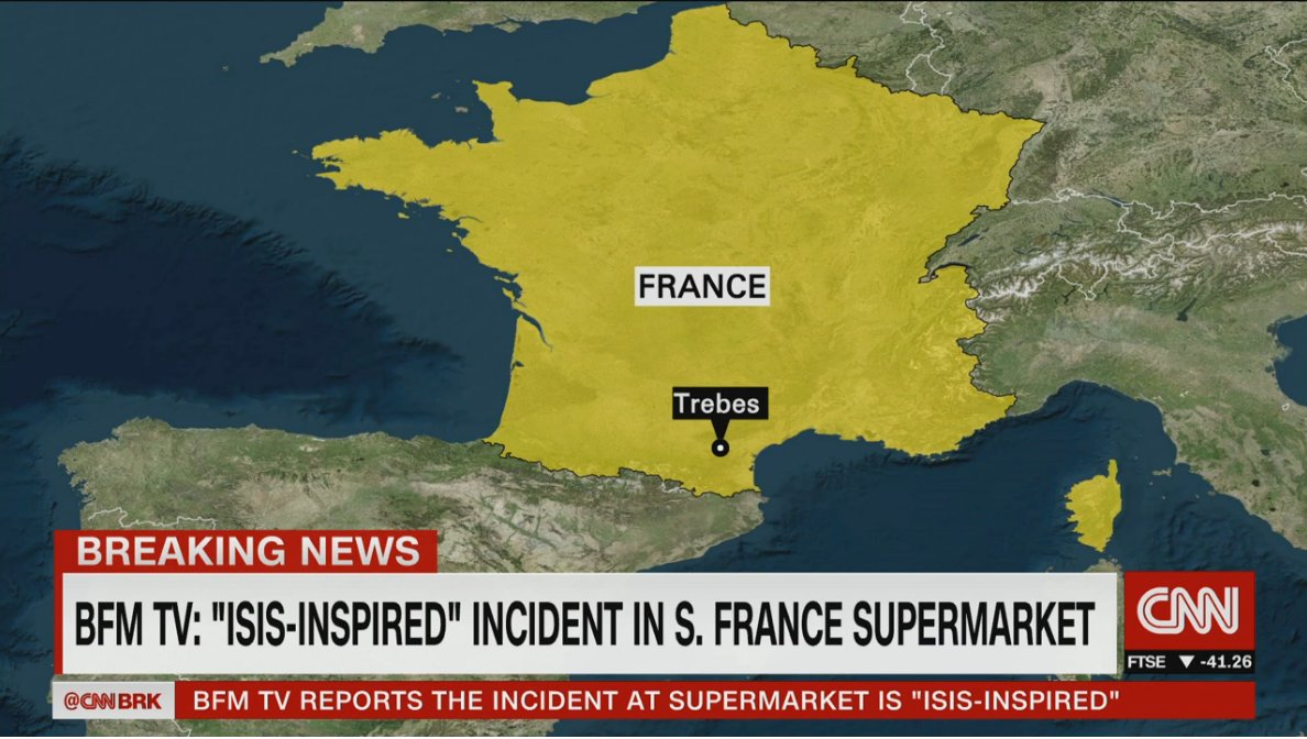 BREAKING: Police in the southern French town of Trèbes are responding to a security situation, the Interior Ministry says https://t.co/2qeJBJWIGt