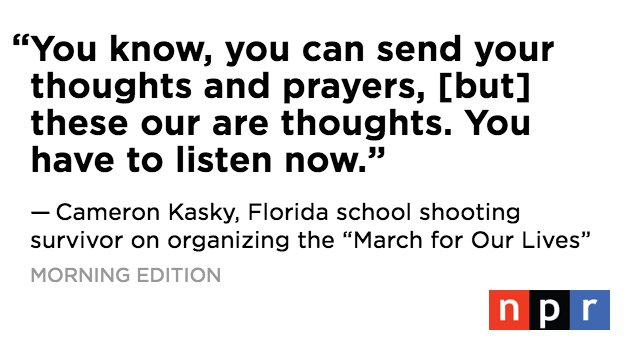 Marjory Stoneman Douglas student @cameron_kasky on the upcoming #MarchForOurLives: 'It's our time to talk.' https://t.co/LOQgijTDKY