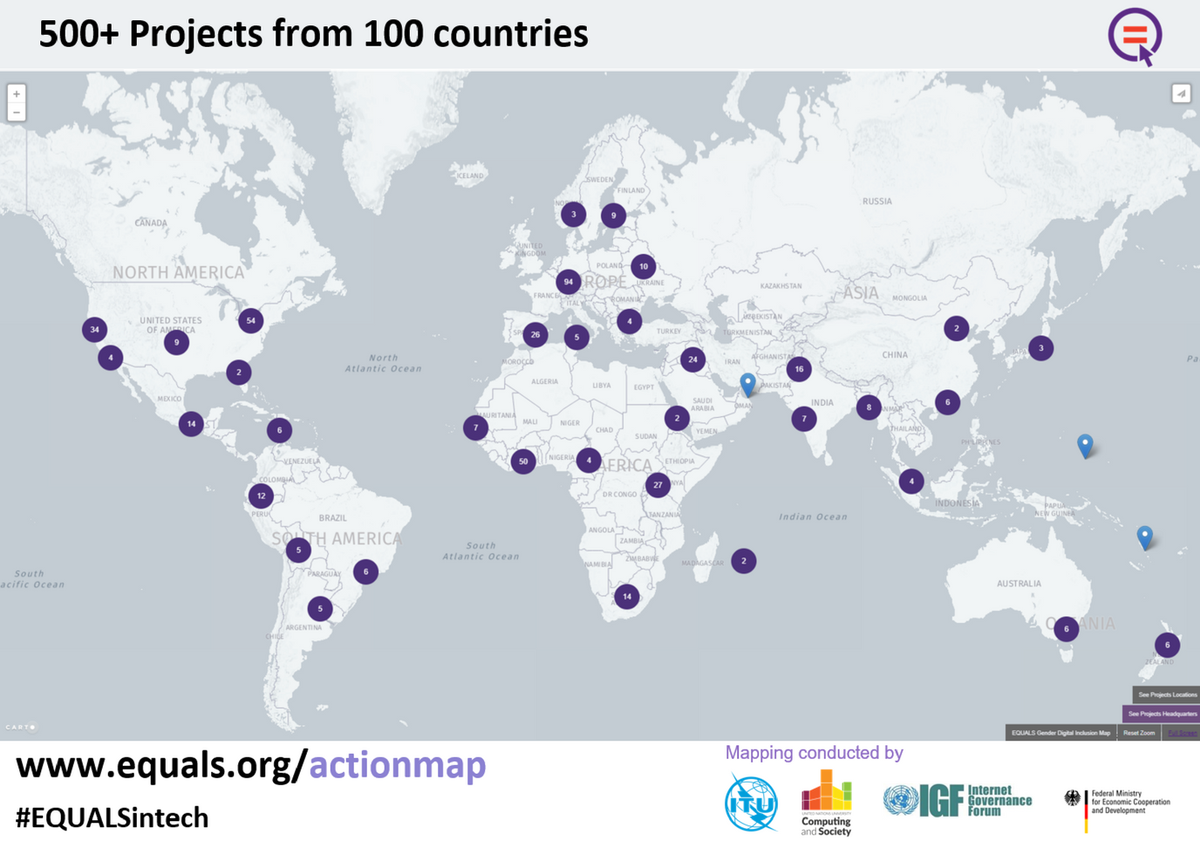 Itu on twitter put your digital genderequality project on the map map of the world with pins for over 500 projects from 100 countries gumiabroncs Image collections