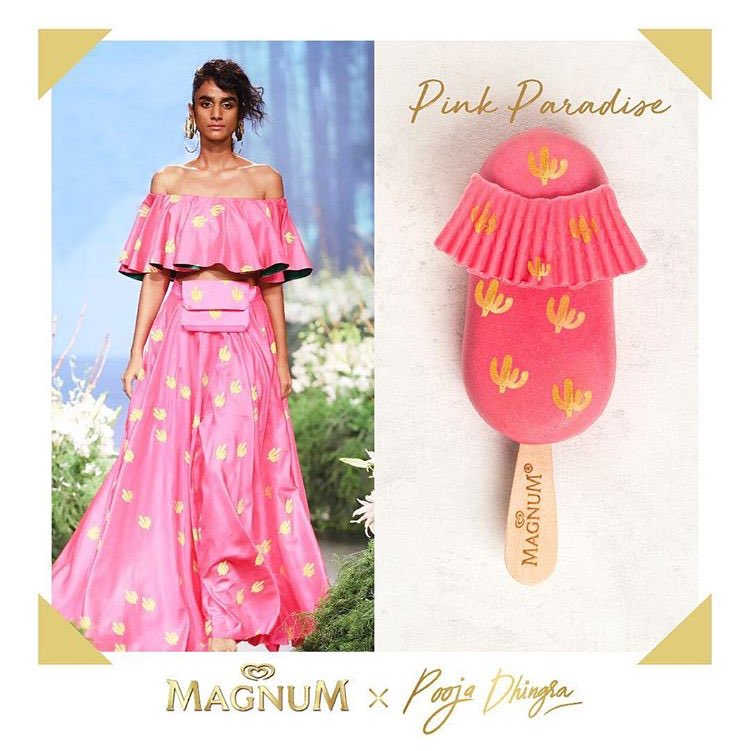 It's all about the deets! Thank you @poojadhingraa for combining the love for Masaba's prints and Magnum - into one gorgeous piece. What do you think of this extravagant creation? @MagnumIND  @HouseofMasaba #TakePleasureSeriously #MagnumxPoojaDhingra