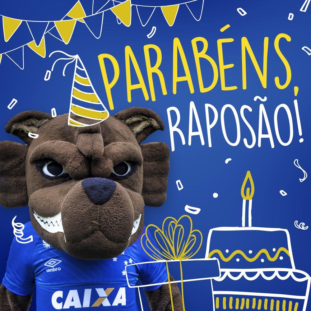Hoje é um dia de muita festa para nós aqui no #Cruzeiro! É aniversário do melhor mascote do Brasil! #ParabénsRaposão! Que você possa levar a imagem do  onde for e que continue fazendo a alegria da Nação Azul!