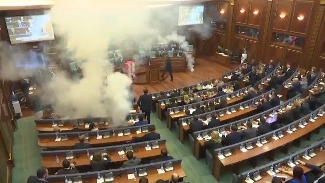 Opposition MPs in Kosovo release tear gas into Parliament to prevent a vote https://t.co/8mm6yLdhmc