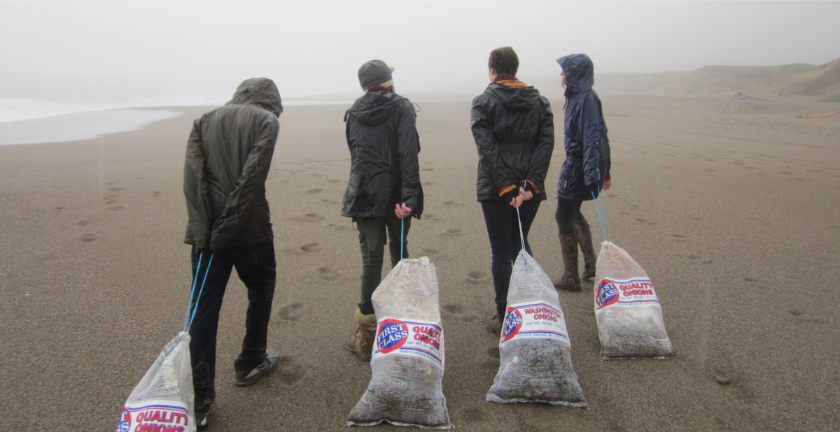 Students at Sir Francis Drake High School in California remove bags of marine debris from a beach. Credit: Michael Wing.