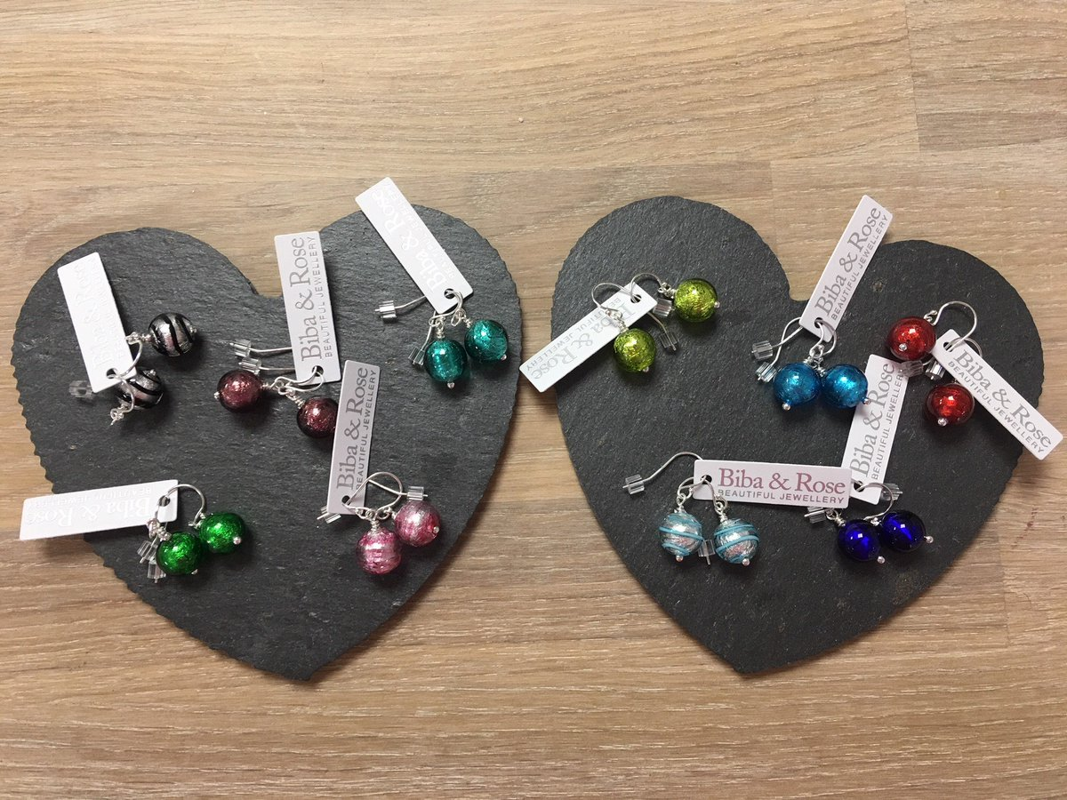 ee5250663 Thanks to the lovely @BibaAndRose we have a stunning new collection of  #Murano glass & #SterlingSilver #earrings and heart #necklaces in the shop.