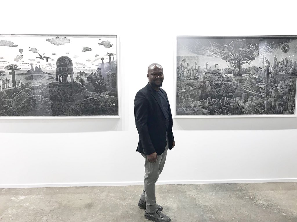 Standing next to two of my work at the @johnmartingallery stand B12 at @artdubai great opening last night. #johnmartingallery #adeadesina #linocutprints #linocut #dubai #artdubai2018 #artdubai #prints #printmaking<br>http://pic.twitter.com/SDFsdHkV2b