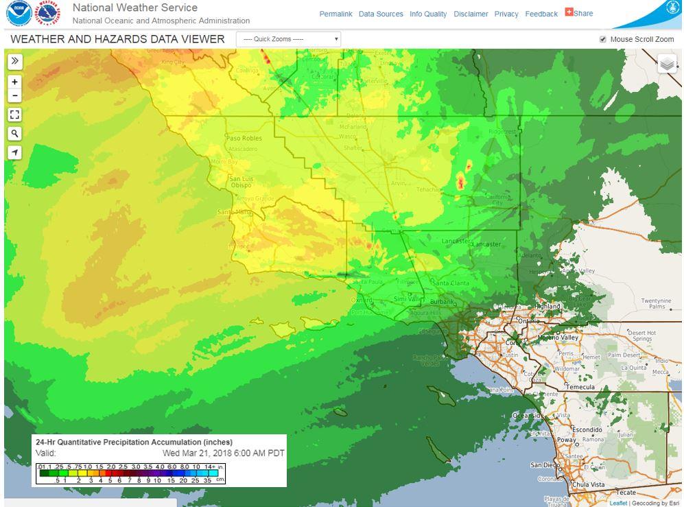 Radar observed rainfall through 6am this morning. More rain on the way. #CAwx #LAweather #CAstorm #LArain #SoCal