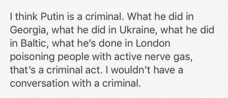 "When asked about the Trump/Putin call, Sen. Grassley (R-IA) said he ""wouldn't have a conversation with a criminal."""