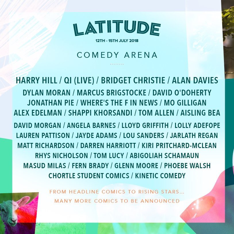 I've been added to the @LatitudeFest line up. Always an honour to play this festival as it's the one I used to go to and sit in the comedy tent all day dreaming about playing @Tania_Latitude - love you!