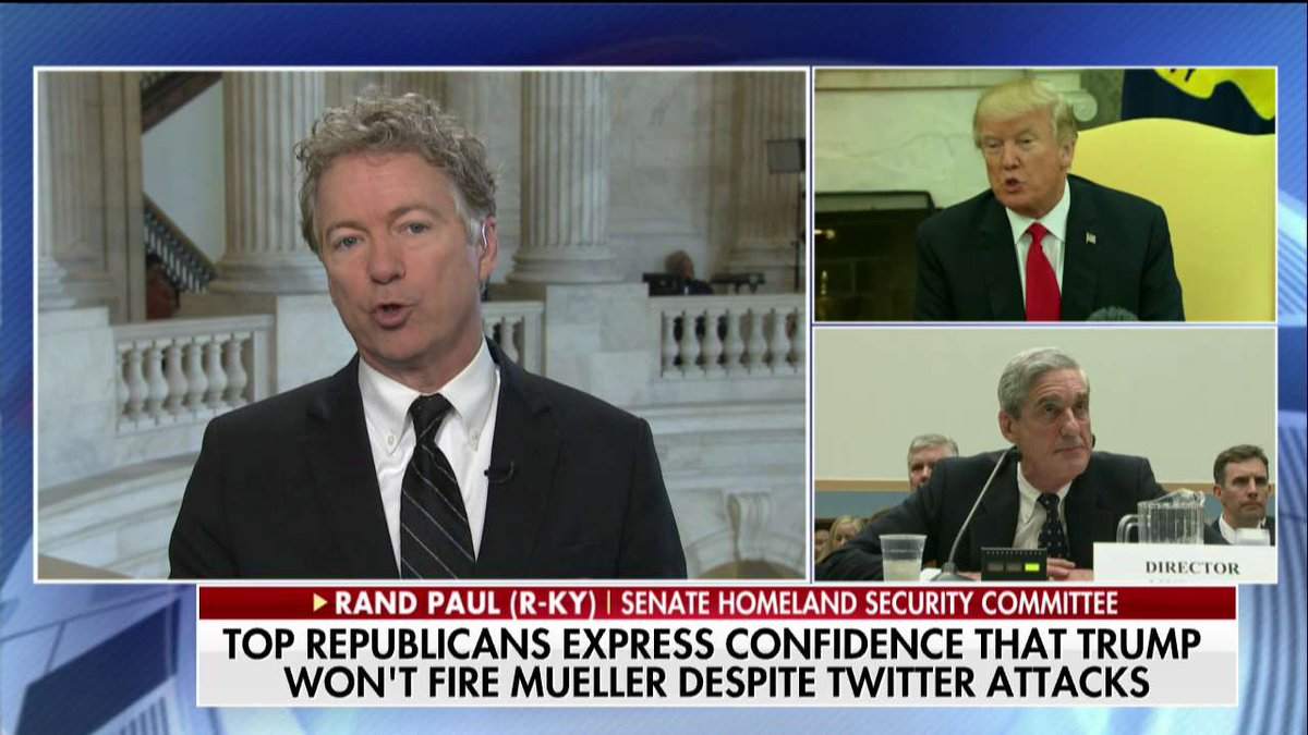 .@RandPaul: 'There really is no reason why Mueller is investigating things other than Russian collusion. If there is no Russian collusion, he should wind up, close his investigation, let's move on.'