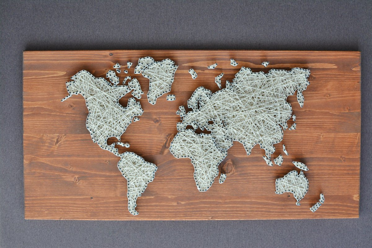 Firul magic firulmagic twitter addition to my etsy shop world map string art world map art httpetsy2psmyys housewares homedecor bedroom worldmap walldecor stringart gumiabroncs Image collections
