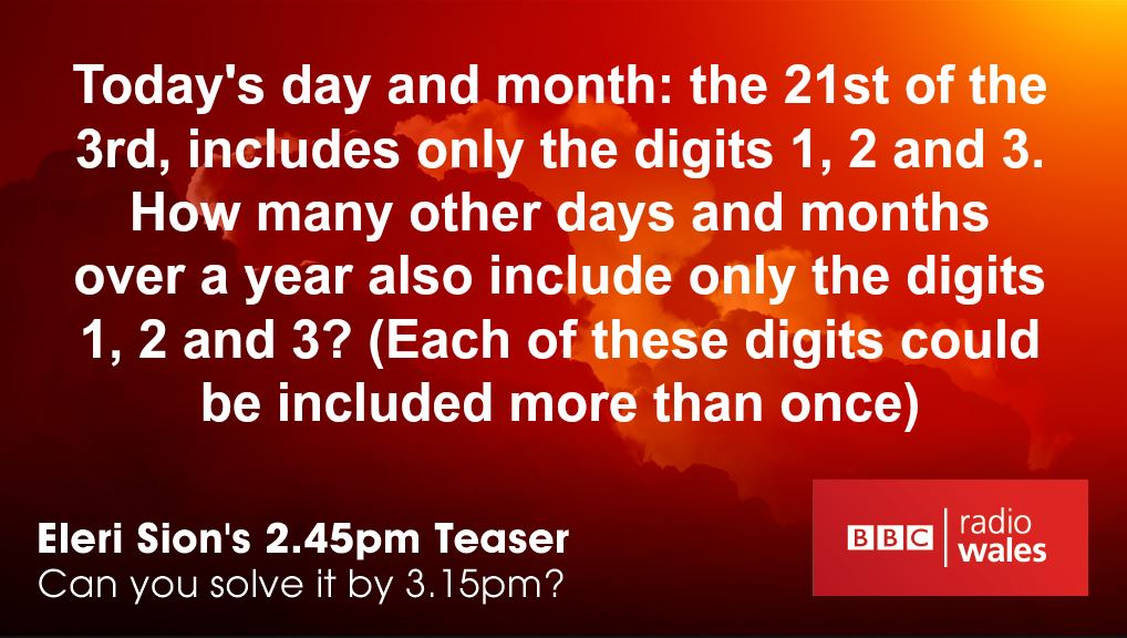 Today's 2.45pm Teaser is as easy as 1, 2, 3! @EleriSion will have the answer for you at 3.15pm - good luck https://t.co/IcP0b8z5Ir