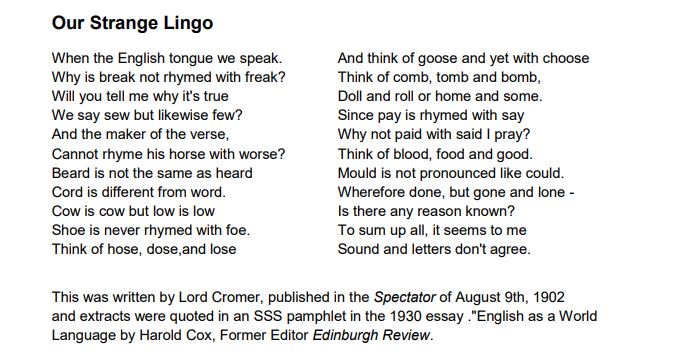 annie thomson on twitter a poem about english soundspelling for  annie thomson