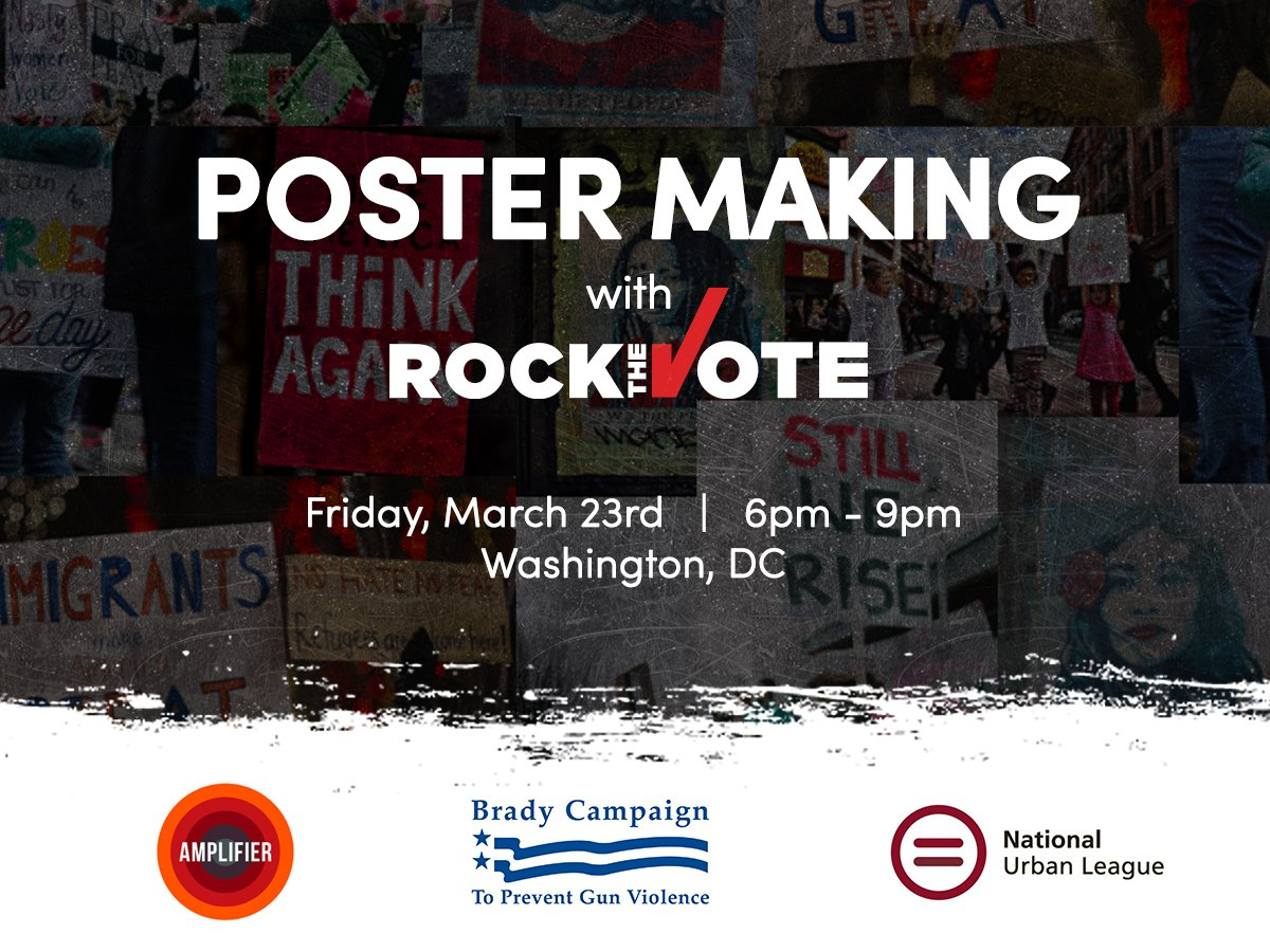 Don't make your #MarchForOurLives poster alone!   Join us @Bradybuzz, @NatUrbanLeague, and @amplifierfound for poster making!  Meet students from across the country and the DMV.   Details herehttps://t.co/LmDA2lfoi8: