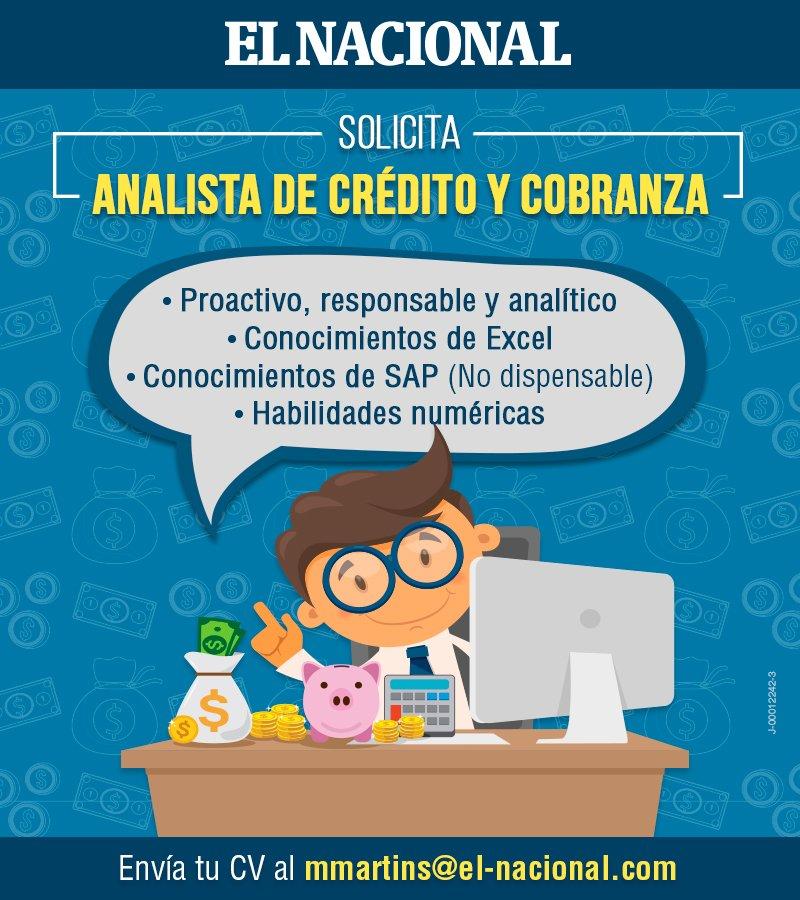 #EN Solicita analista de crédito y cobranza. ¿Quieres ser parte de nuestro equipo? Si estás en Caracas, comunícate con nosotros #empleo