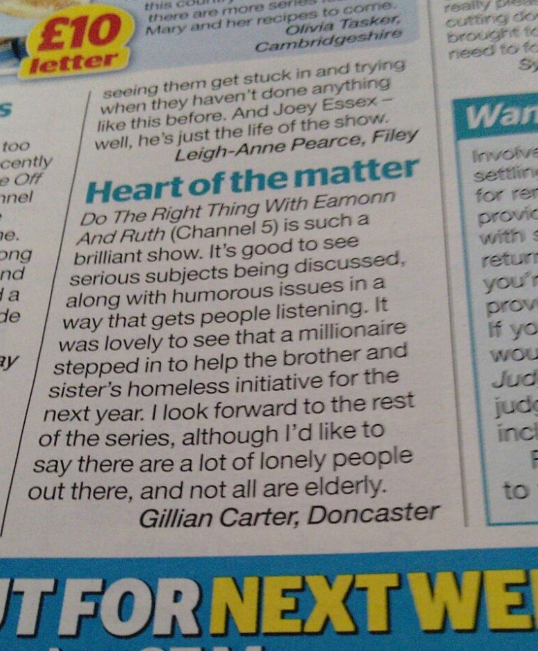 #DotheRightThing tomorrow night at 9pm @channel5_tv . Thanks for the 👍Gillian in @TVChoice https://t.co/D8bem0B4nX