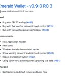 Image for the Tweet beginning: New release of Emerald Wallet,