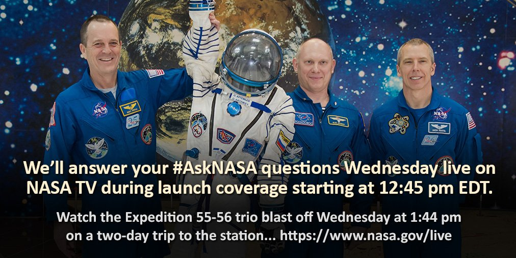 Watch live as three humans launch from Earth to travel to the @Space_Station, where they'll conduct important science and @ISS_Research. Coverage beings at 12:45pm ET. Watch liftoff here: https://t.co/ZuxLDtRxxM Have questions? Use #askNASA