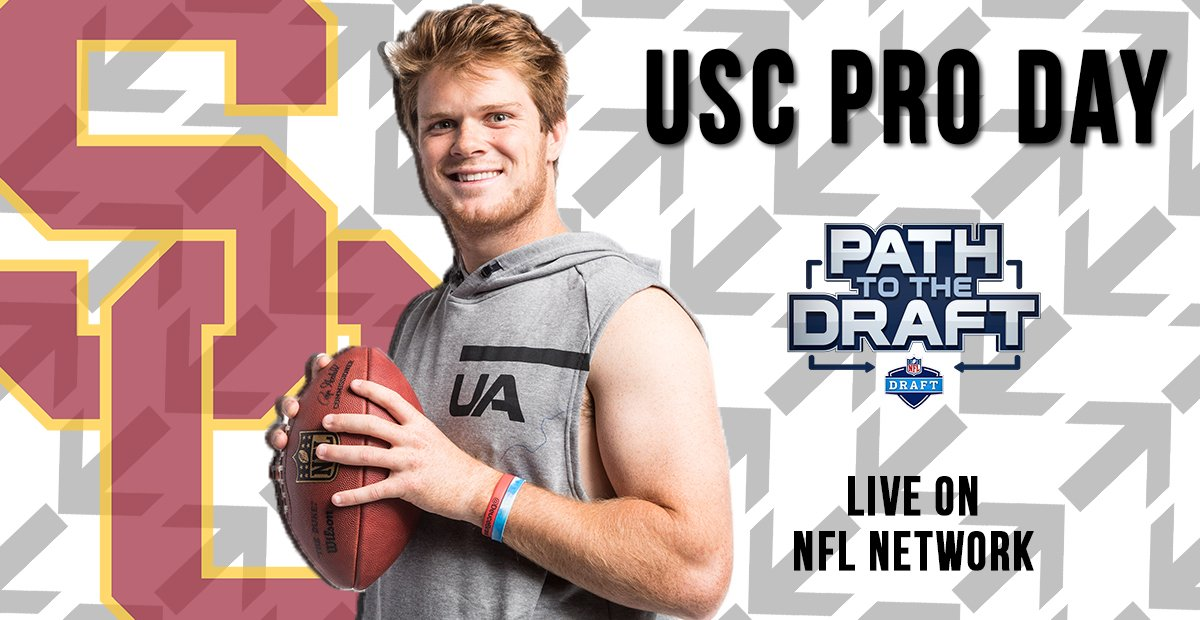 LIVE on NFL Network: @USC_Athletics Pro Day!  Join @RhettNFL, @MoveTheSticks, @MikeMayock and @CurtisConway80 as QB Sam Darnold takes center stage. #NFLDraft