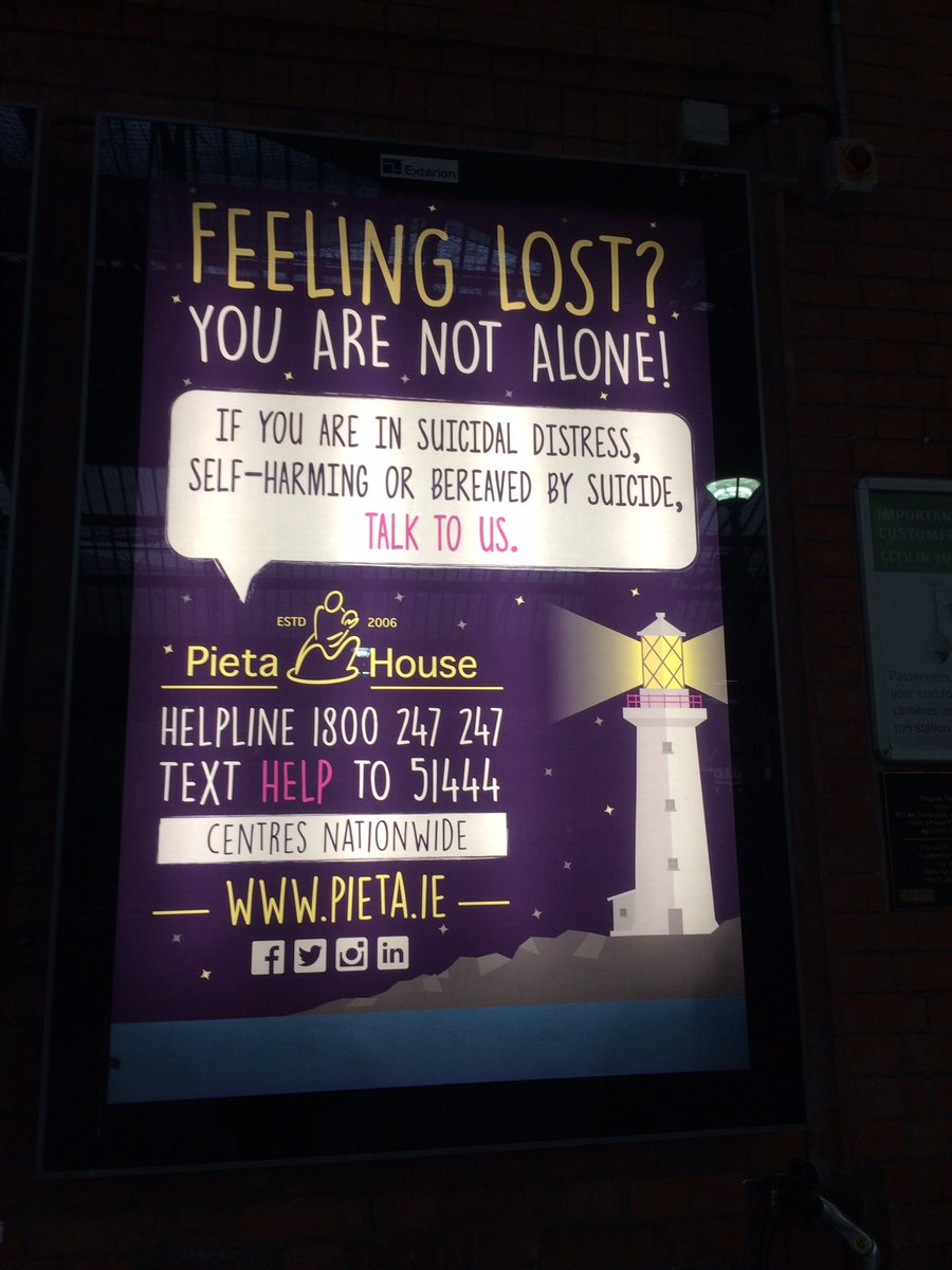 #YouAreNotAlone @sportrelief @PietaHouse 24 hour helpline in Ireland 1800 247 247