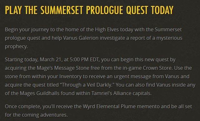 uesp on twitter the summerset prologue quest through a veil