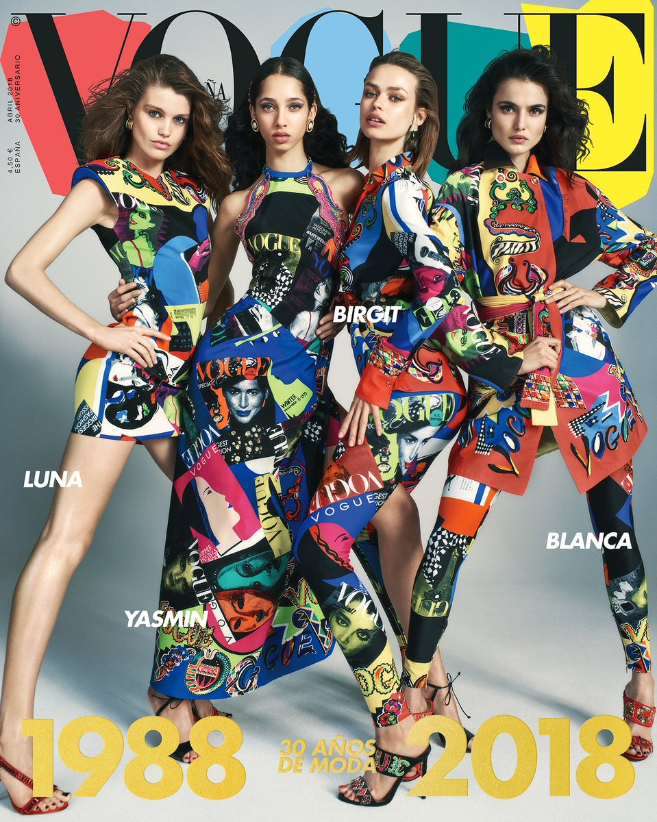 Vogue on Vogue - @VogueSpain celebrates their 30 year anniversary with the #VersaceTribute Vogue print.
