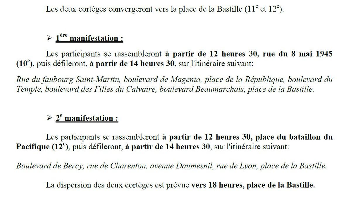 Les trajets des deux cortèges parisiens de demain (qui se rejoignent à Bastille), communiqués par la préfecture de police de Paris: