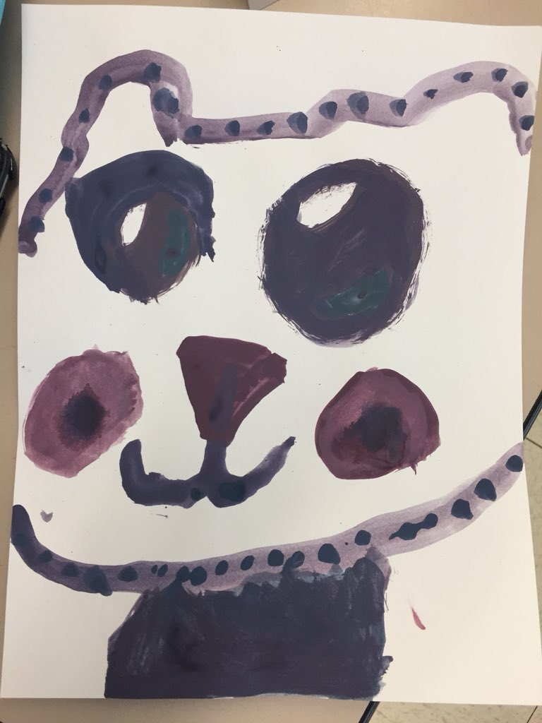 Kindergarten Hawks learn about colors and shades by mixing paints - and make some awesome art too!
