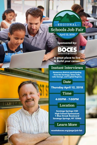 Thursday April 12 4-7pm at our Regional Schools Job Fair @sscsdschools Saratoga  Springs HS GYM - 1 Blue Streak Blvd. More info: ...