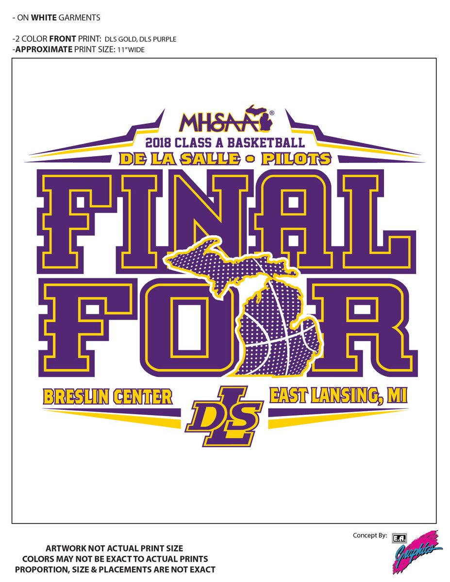 Woo Hoo!! Final Four shirts will be available tomorrow in the hangar!! Go Pilots!! @DLSPilotsAlumni @DeLaSalle_BB @delasallehs @DLSBrozone