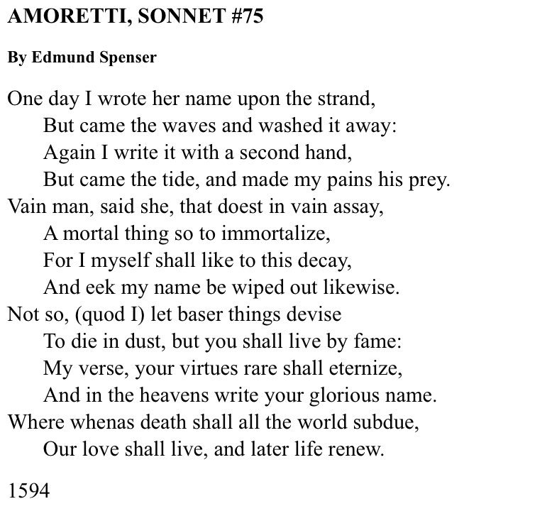 sonnet 34 by edmund spenser Spenser lived from 1552 to 1599 he wrote the amoretti as part of the courtship of his second wife, elizabeth boyle he wrote a companion poem, epithalamion , that commemorates their marriage.