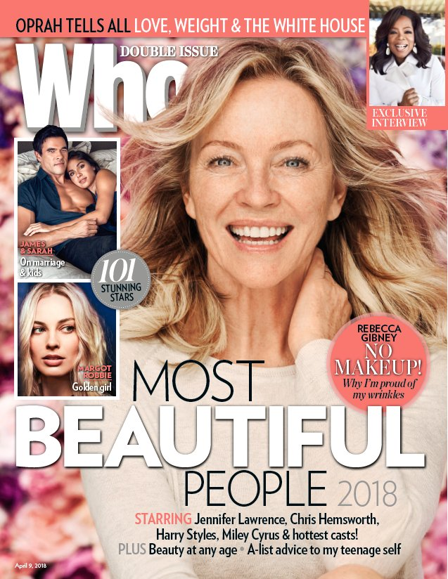 This Years WHOMostBeautiful People Issue Staring Cover Girl Rebecca Gibney With No Makeup Home