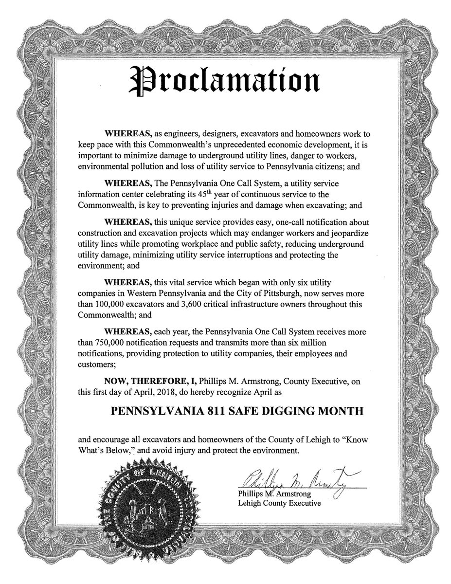 Thank you to Phillips Armstrong, Lehigh County Executive, for designating April 2018 as…