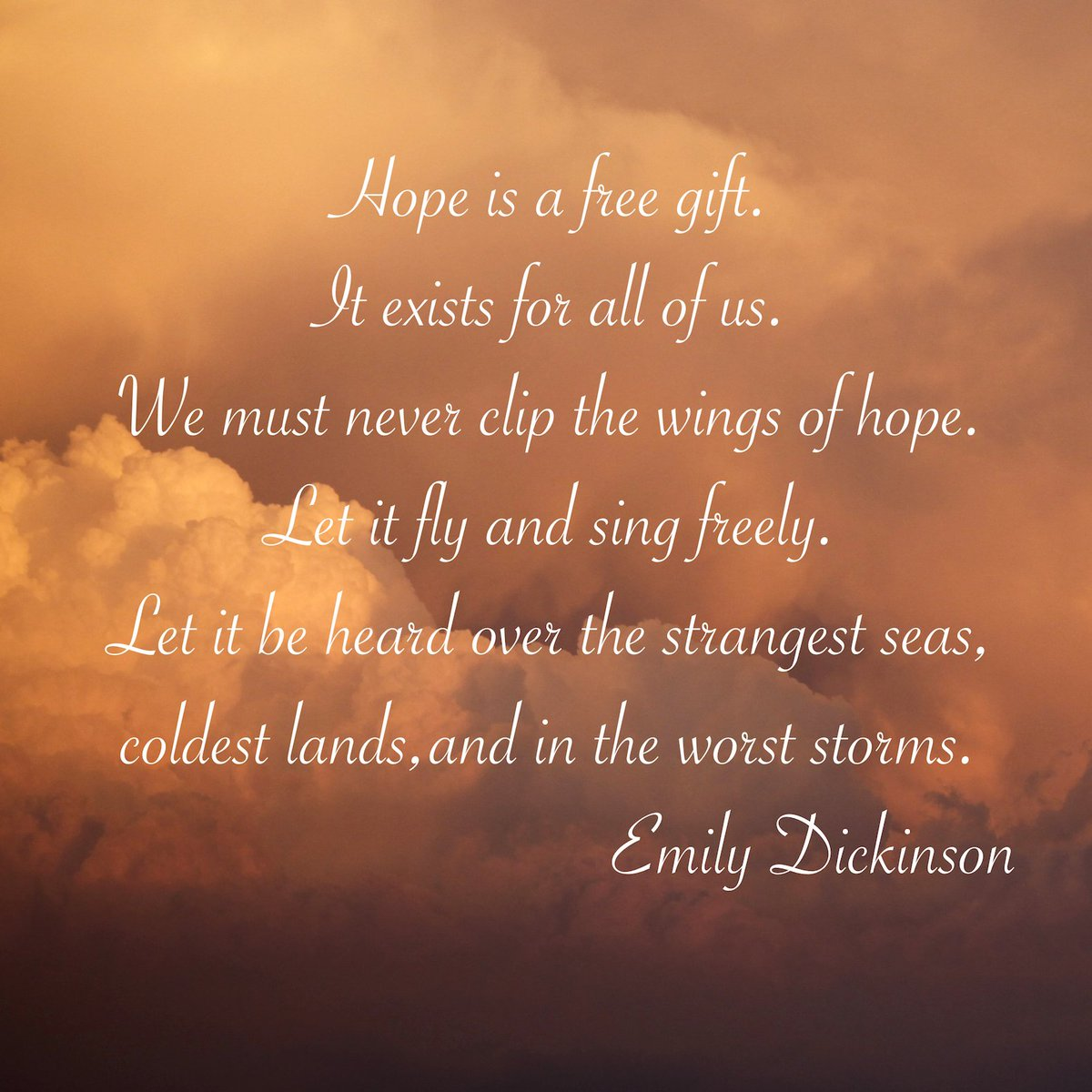 🌎🙏💙 Hope is a free gift.  It exists for all of us. We must never clip the wings of hope. Let it fly and sing freely. Let it be heard over the strangest seas,  coldest lands,and in the worst storms.             Emily Dickinson  #WorldPoetryDay #JOYpublicity #WednesdayMotivation