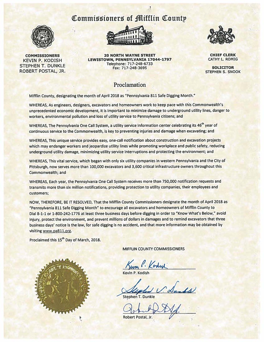 Thank you to Mifflin County Commissioners Kevin Kodish, Stephen Dunkle and Robert Postal for…