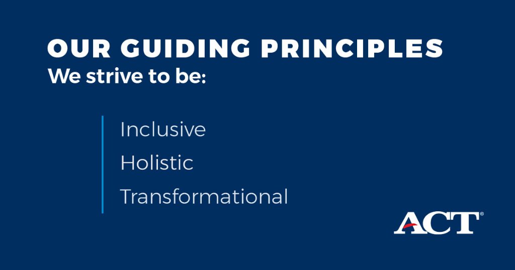 We strive to always be inclusive, holistic, and transformational. Learn more about ACT at bit.ly/2BP2I6h