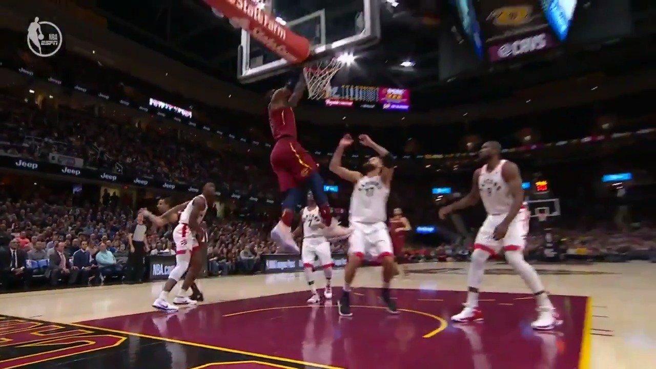 LBJ goes baseline! #AllForOne   WATCH on ESPN https://t.co/XjqztnmFe0