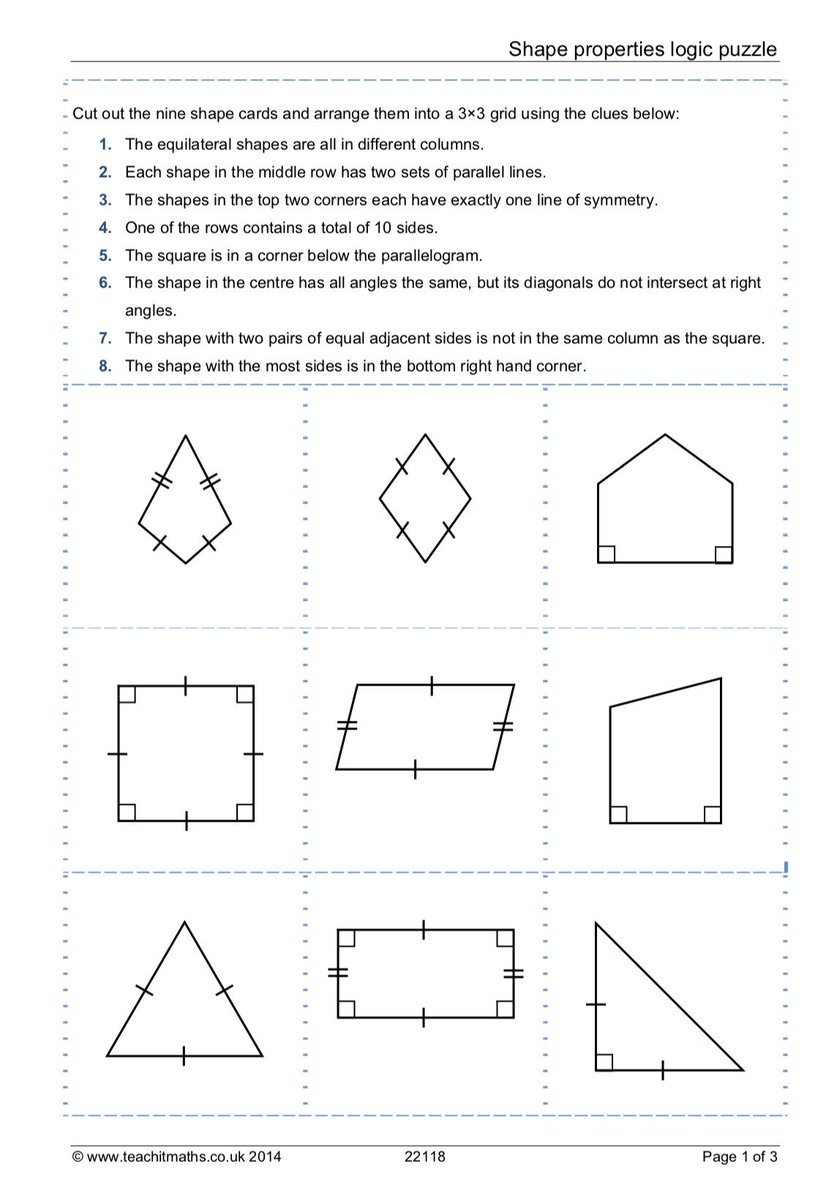 Texas Math Teacher On Twitter Teachitmaths Has Some Excellent Logic Diagram Shapes Here Https Teachitmathscouk Resources Ks3 2d Identifying Triangles And Special Quadrilaterals Shape Properties Puzzle 22118